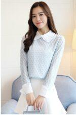 +15 Áo kiểu Hàn Quốc nữ phối ren thanh lịch một quý cô công sở nên có