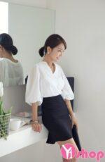 20+ Áo sơ mi nữ trắng đẹp kiểu Hàn Quốc năng động hot nhất hè 2021 – 2022