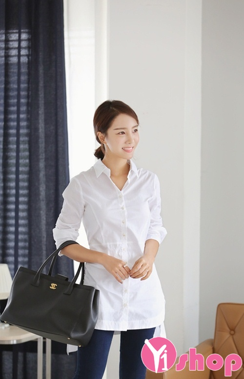 20+ Áo sơ mi nữ trắng đẹp kiểu Hàn Quốc năng động hot nhất hè 2021 - 2022