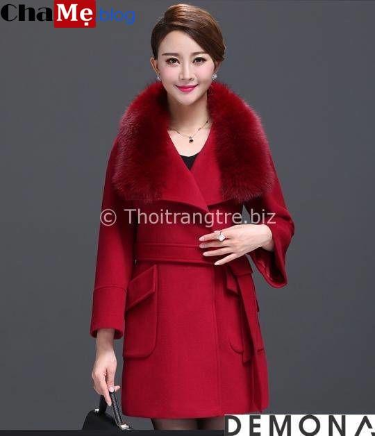 Ấm áp ngày gió lạnh với áo khoác dạ cổ lông nữ đẹp thu đông 2021 - 2022