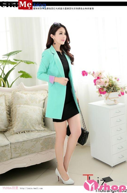 Áo khoác blazer nữ dáng dài đẹp thanh lịch dịu dàng mùa đông 2021 - 2022