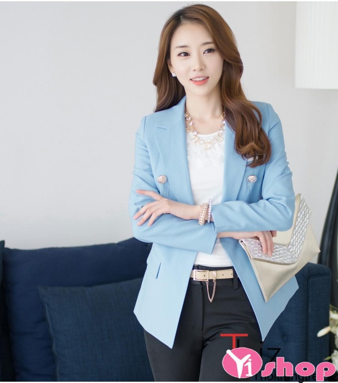 Áo khoác blazer nữ dáng dài đẹp thanh lịch tới công sở thu đông 2019