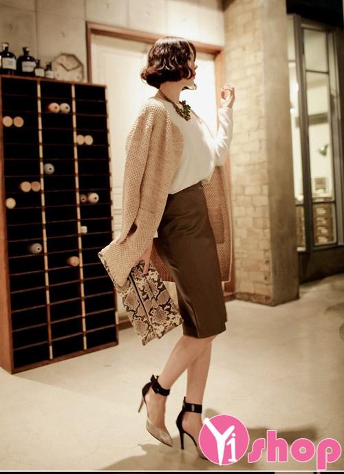Áo khoác cardigan len nữ dáng dài đẹp ấm áp trẻ trung thu đông 2021 - 2022