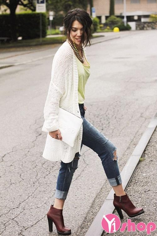 Áo khoác cardigan nữ dáng dài đẹp cho người gầy ấm áp đông 2019