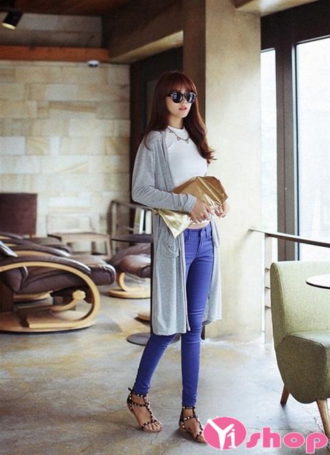 Áo khoác cardigan nữ dáng dài đẹp kiểu Hàn Quốc ấm áp đông 2019