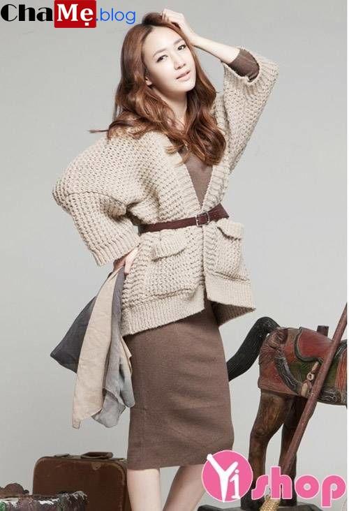 Áo khoác cardigan nữ dáng dài đẹp thu đông 2019 - 2019 kiểu hàn quốc
