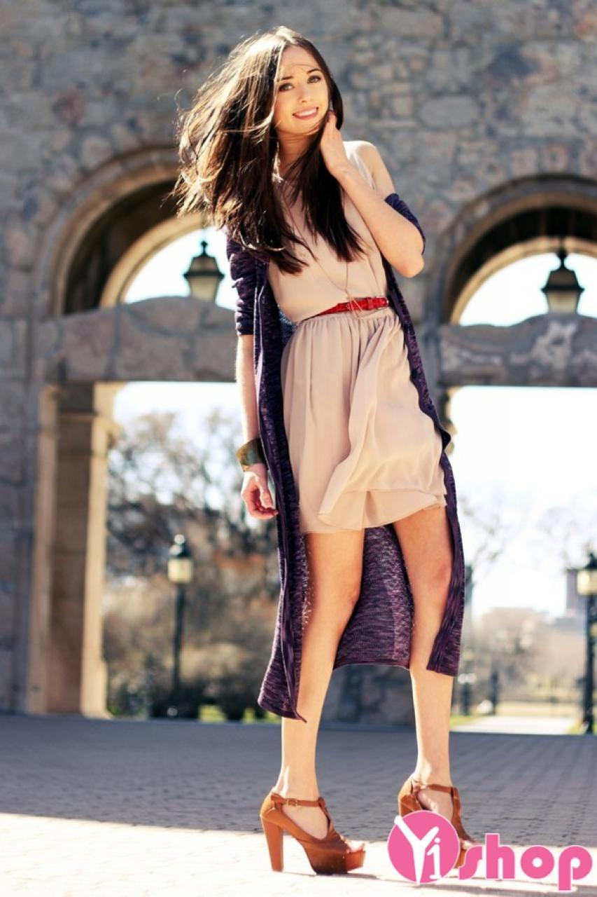 Áo khoác cardigan nữ dáng dài đẹp thu đông 2019 không lạnh ấm áp