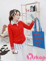 Áo khoác cardigan nữ Hàn Quốc đẹp dịu dàng dạo phố đông 2021 – 2022