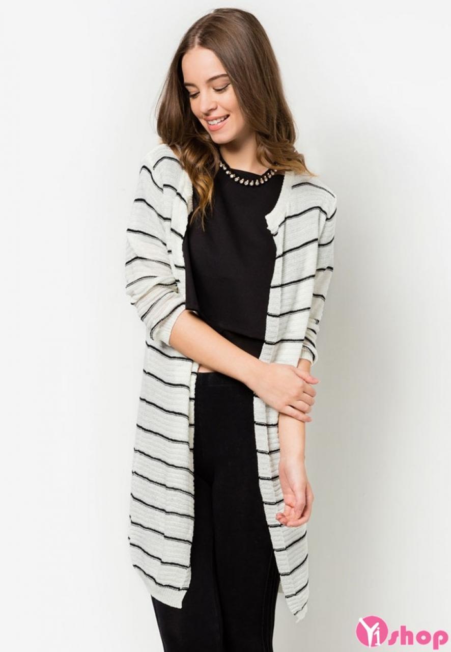 Áo khoác cardigan nữ kẻ sọc đẹp thu đông 2019 cho nàng dạo phố