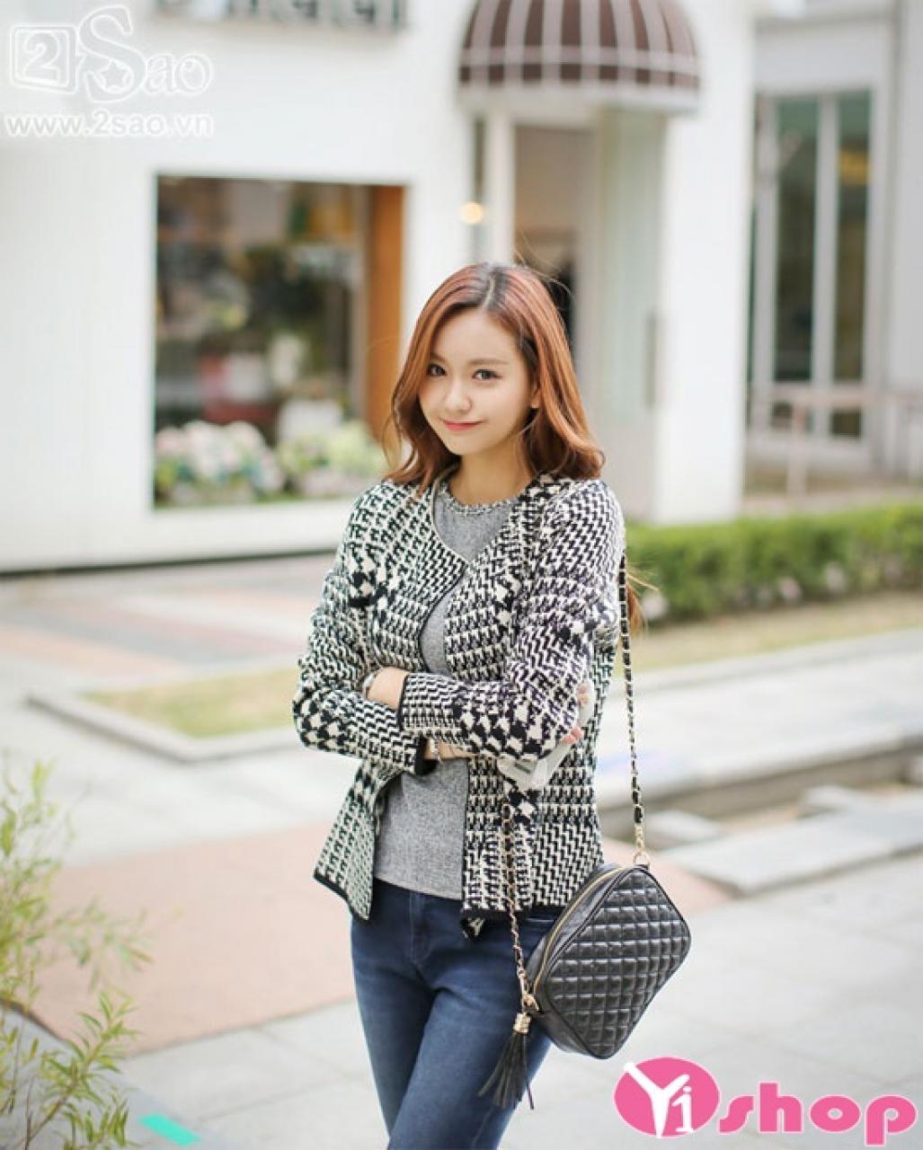Áo khoác cardigan nữ mỏng đẹp Hàn Quốc thu đông 2019 nhẹ nhàng thanh lịch