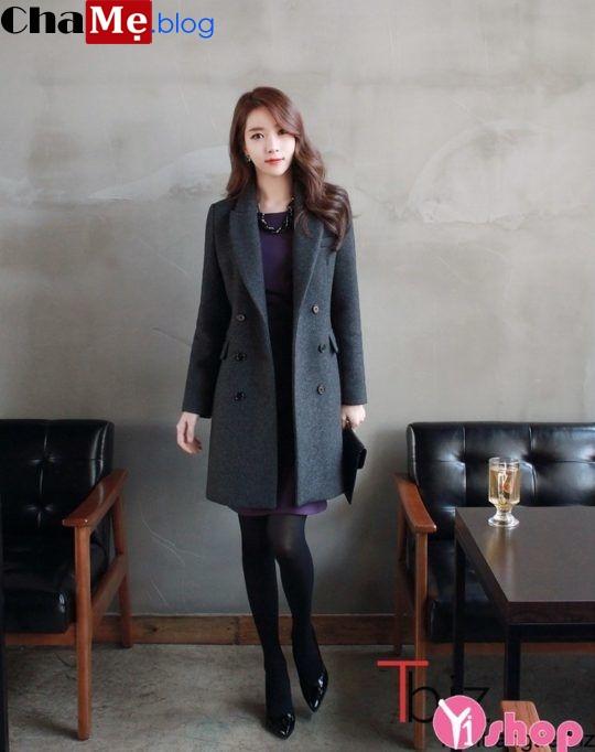 Áo khoác dạ công sở nữ Hàn Quốc đẹp mùa đông 2021 - 2022