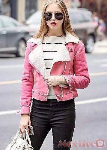 Áo khoác da lộn nữ dáng ngắn trẻ trung ấm áp cho bạn gái ngày thu đông 2021 - 2022