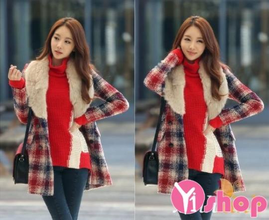 Áo khoác dạ nữ caro đẹp kiểu Hàn Quốc sang trọng thu đông 2019
