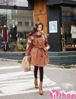 Áo khoác dạ nữ chít eo Hàn Quốc đẹp điệu đà thu đông 2021 – 2022