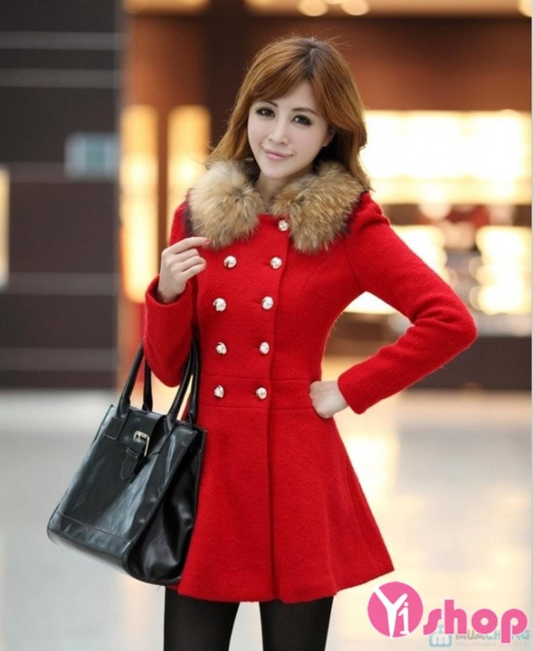 Áo khoác dạ nữ cổ sen đẹp thu đông 2019 cho nàng công sở cao gầy