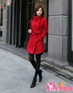 Áo khoác dạ nữ cổ cao đẹp kiểu Hàn Quốc ấm áp thu đông 2021 – 2022