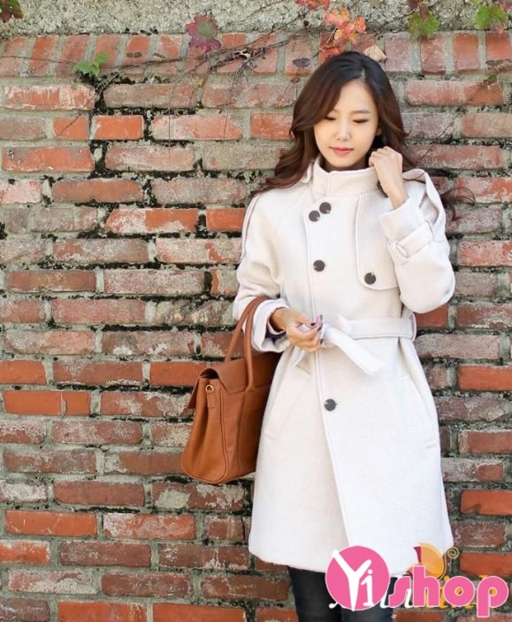 Áo khoác dạ nữ cổ cao đẹp kiểu Hàn Quốc ấm áp thu đông 2019