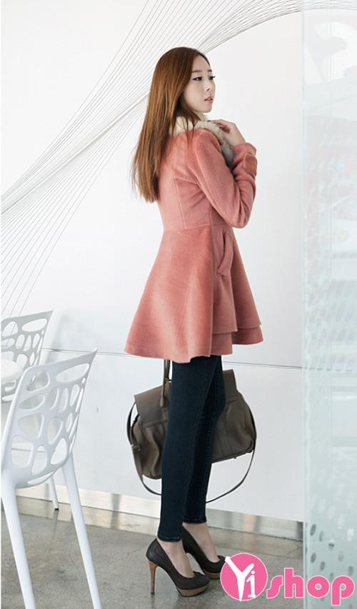 Áo khoác dạ nữ cổ lông đẹp ấm áp sang trọng mùa thời trang thu đông 2019