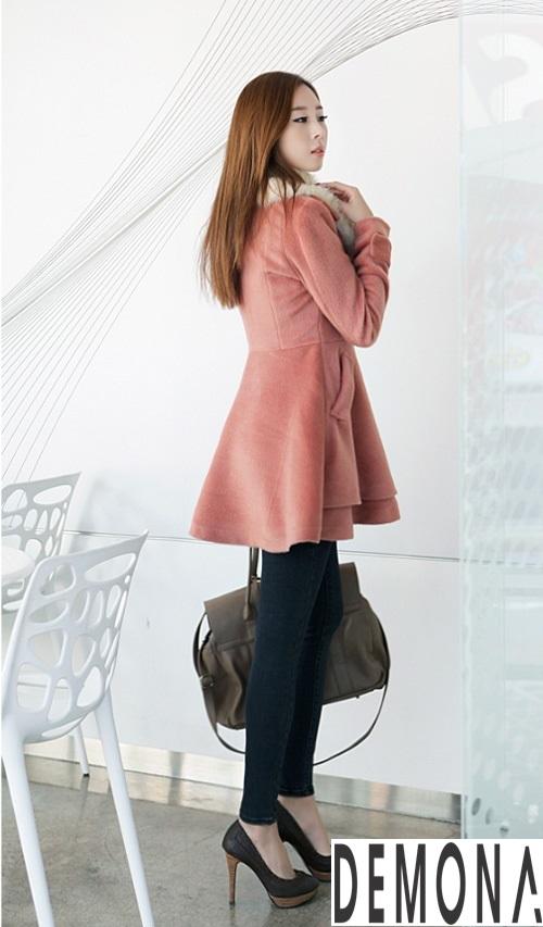 Áo khoác dạ nữ cổ lông đẹp cho quý cô đi dự tiệc thu đông 2021 - 2022 phần 5