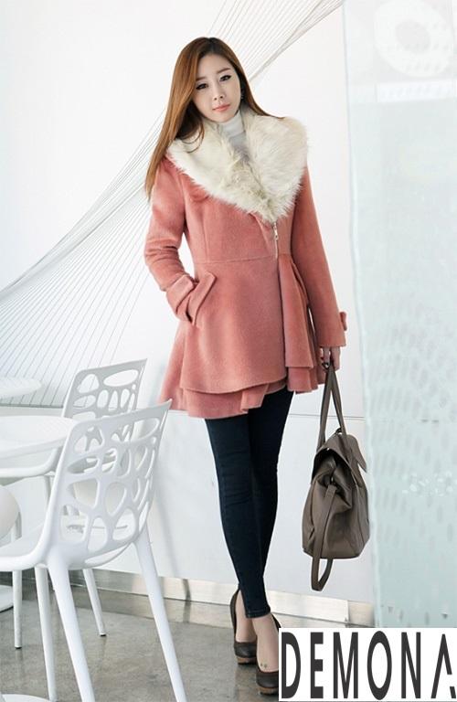 Áo khoác dạ nữ cổ lông đẹp cho quý cô đi dự tiệc thu đông 2021 - 2022 phần 6