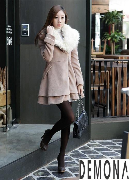 Áo khoác dạ nữ cổ lông đẹp cho quý cô đi dự tiệc thu đông 2021 - 2022 phần 8