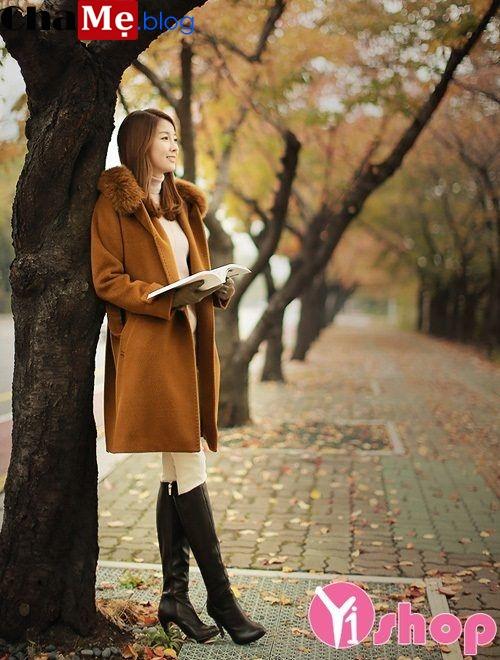 Áo khoác dạ nữ cổ lông đẹp sang chảnh như mỹ nhân hàn đông 2021 - 2022
