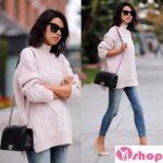 Áo khoác len nữ màu hồng phấn đẹp cho bạn gái xì tin thu đông 2021 – 2022