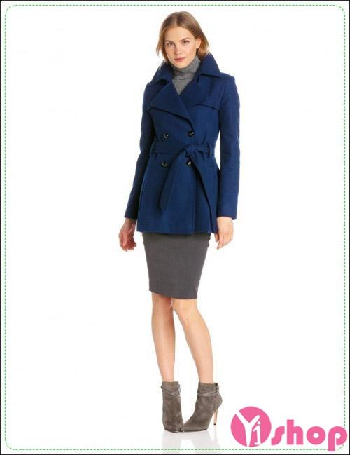 Áo khoác dạ nữ đai lưng đẹp thanh lịch tới công sở thu đông 2019
