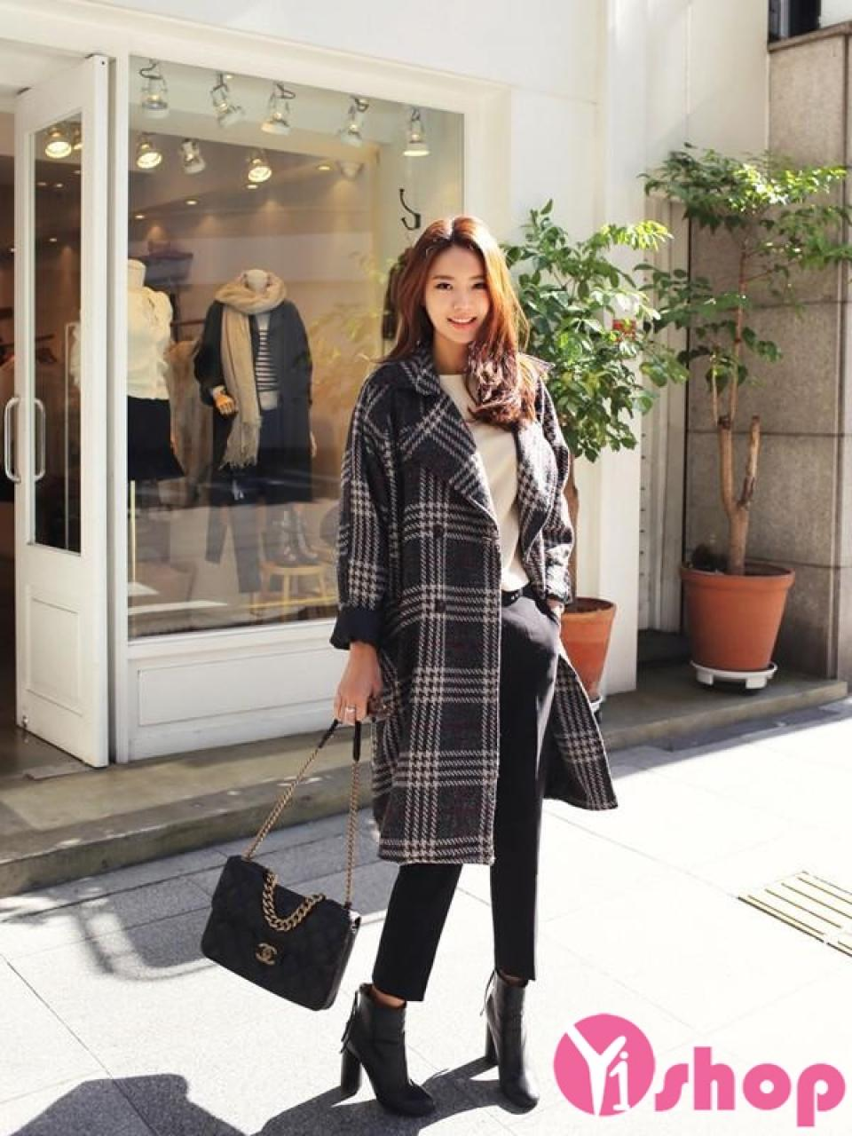 Áo khoác dạ nữ dáng dài cổ vest đẹp thu đông 2019 kiểu Hàn Quốc
