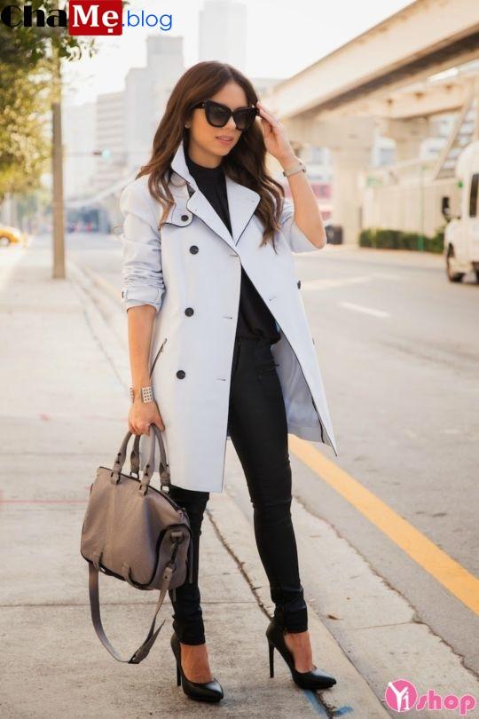 Áo khoác dạ nữ dáng dài đẹp cho nàng lùn thấp tự tin