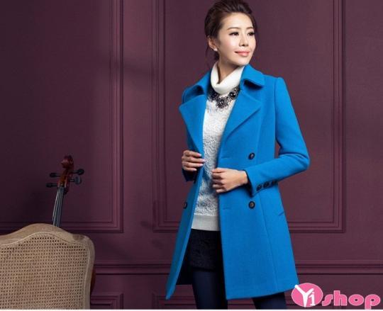 Áo khoác dạ nữ dáng dài đẹp màu xanh coban sành điệu thu đông 2019
