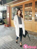 Áo khoác dạ nữ dáng dài đẹp phong cách Hàn Quốc ấm áp thu đông 2021 – 2022