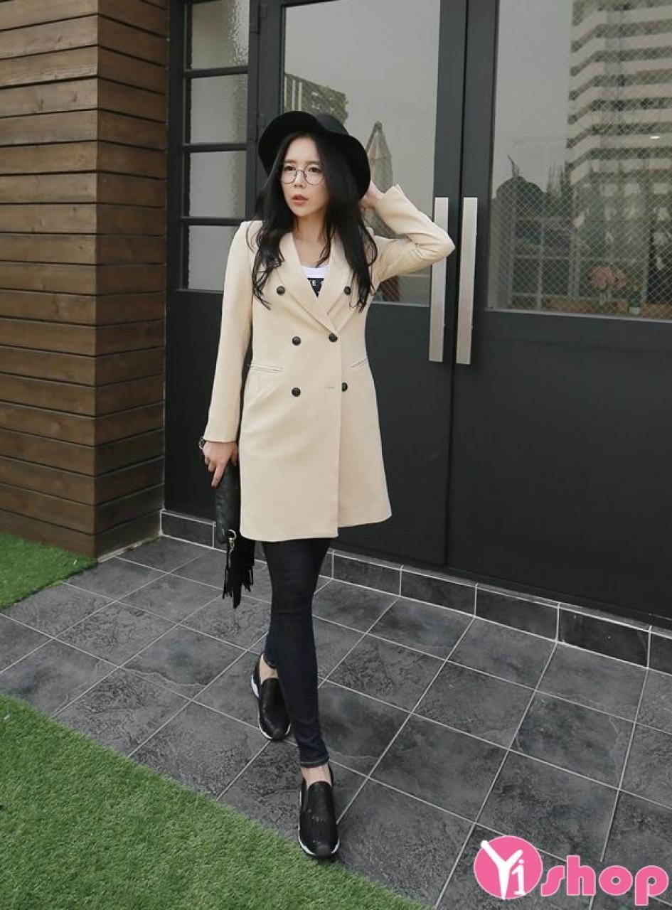 Áo khoác dạ nữ dáng dài đẹp thời trang công sở Hàn Quốc thu đông 2019