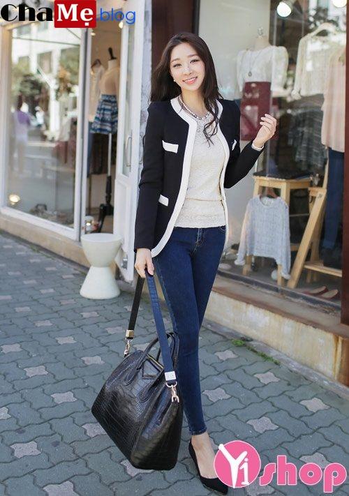 Áo khoác dạ nữ dáng dài không cổ đẹp đón đông 2021 - 2022