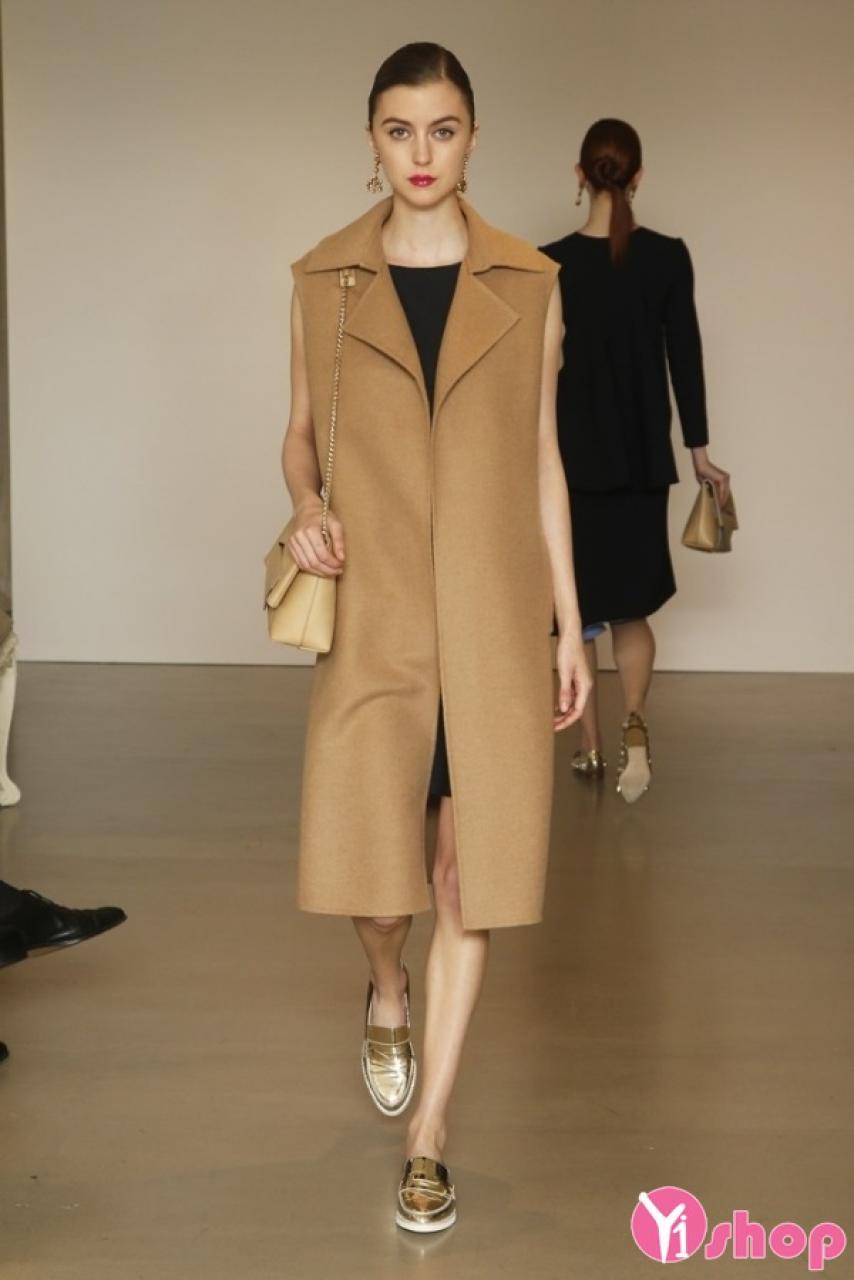 Áo khoác dạ nữ dáng dài không tay đẹp xu hướng thời trang đông 2019
