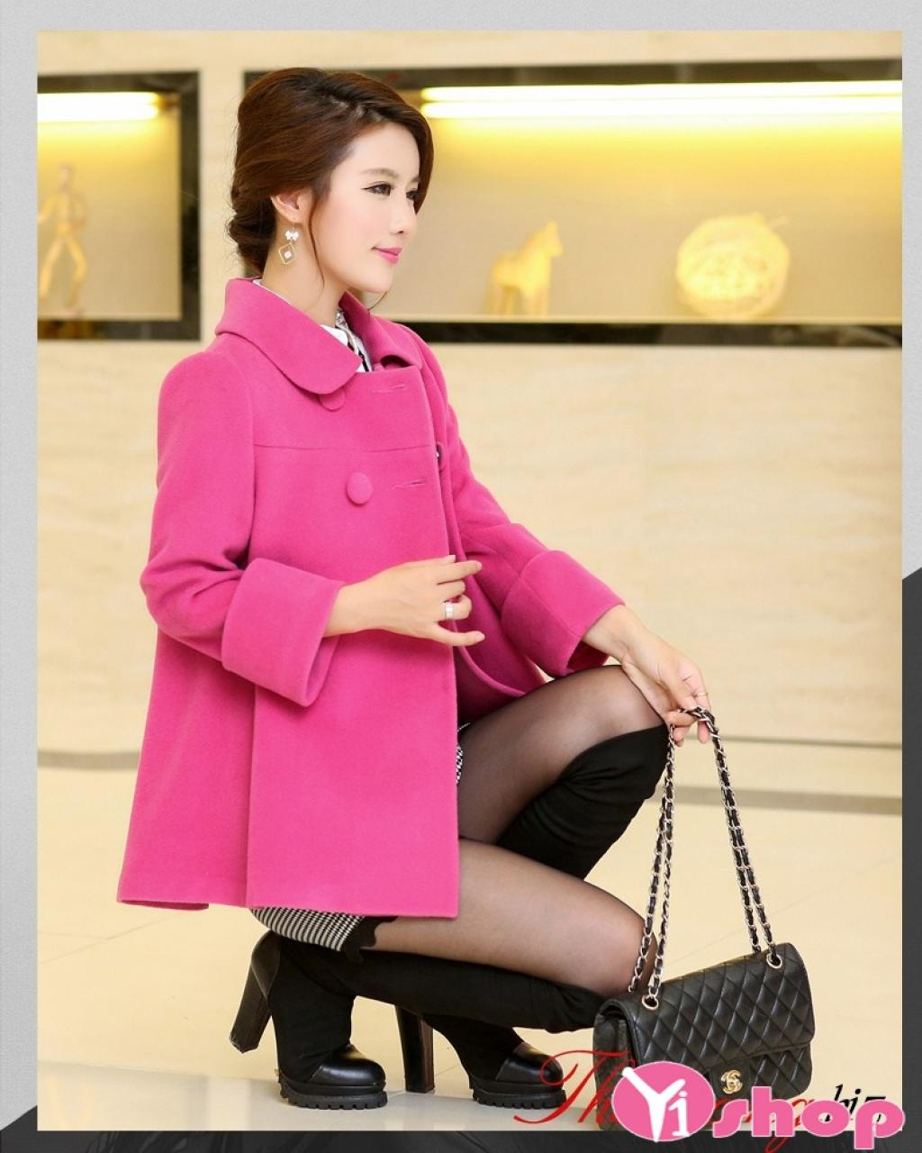 Áo khoác dạ nữ dáng dài màu hồng đẹp xu hướng thời trang thu đông 2019