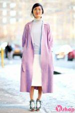 Áo khoác dạ nữ dáng dài màu pastel đẹp xu hướng thu đông 2021 – 2022