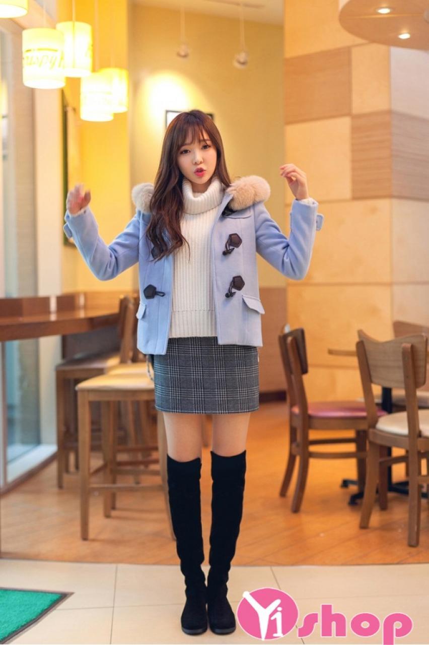 Áo khoác dạ nữ dáng lửng đẹp kiểu Hàn Quốc ấm áp không lạnh thu đông 2019