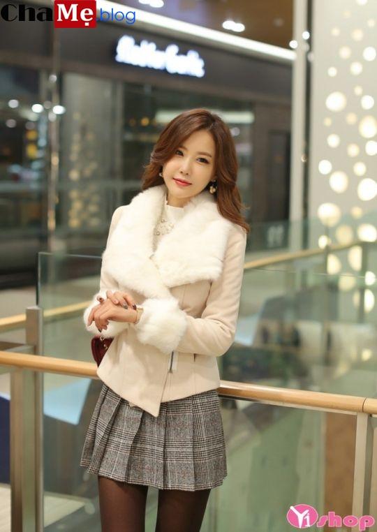 Áo khoác dạ nữ dáng lửng đẹp kiểu Hàn Quốc sang trọng đông 2021 - 2022