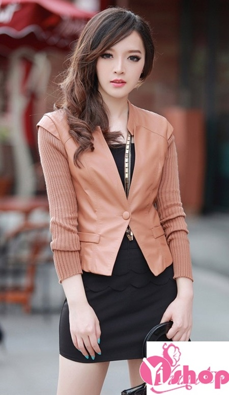 Áo khoác da nữ dáng ngắn đẹp không thể thiếu trong tủ đồ