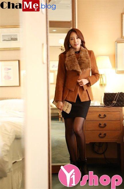 Áo khoác dạ nữ dáng ngắn đẹp kiểu Hàn Quốc thanh lịch đông 2021 - 2022