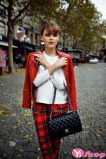 Áo khoác da nữ dáng ngắn đẹp màu đỏ cá tính thu đông 2021 – 2022