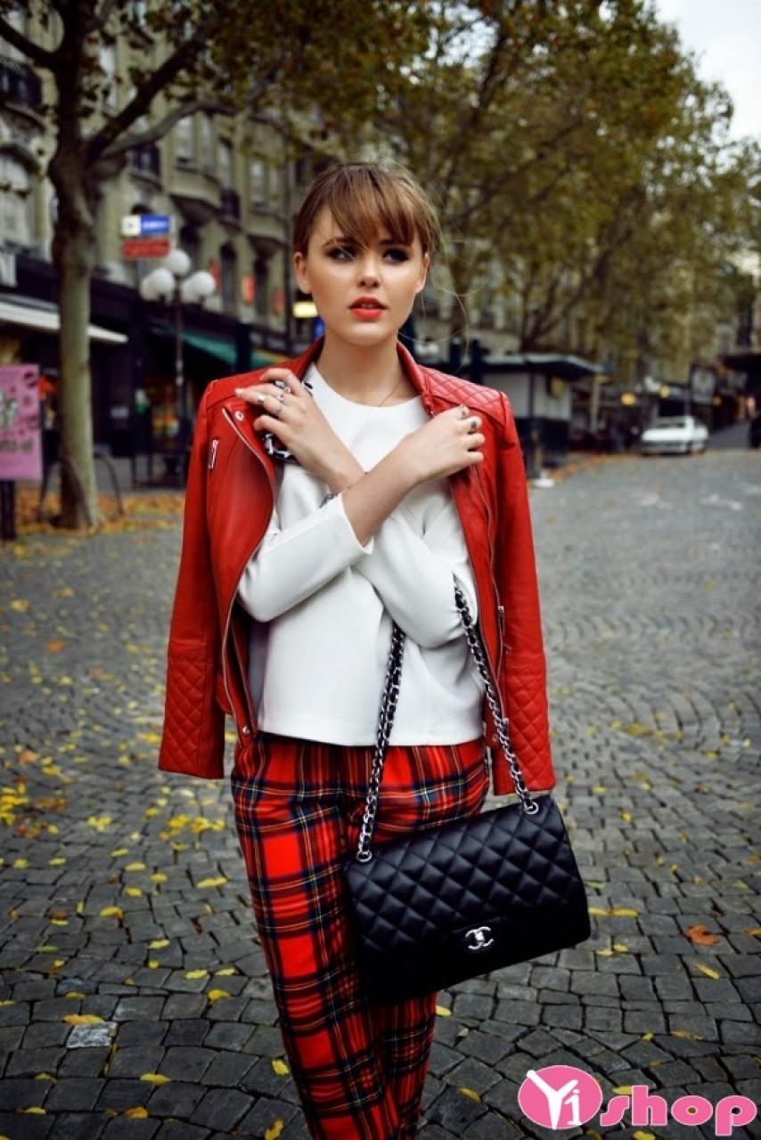 Áo khoác da nữ dáng ngắn đẹp màu đỏ cá tính thu đông 2019