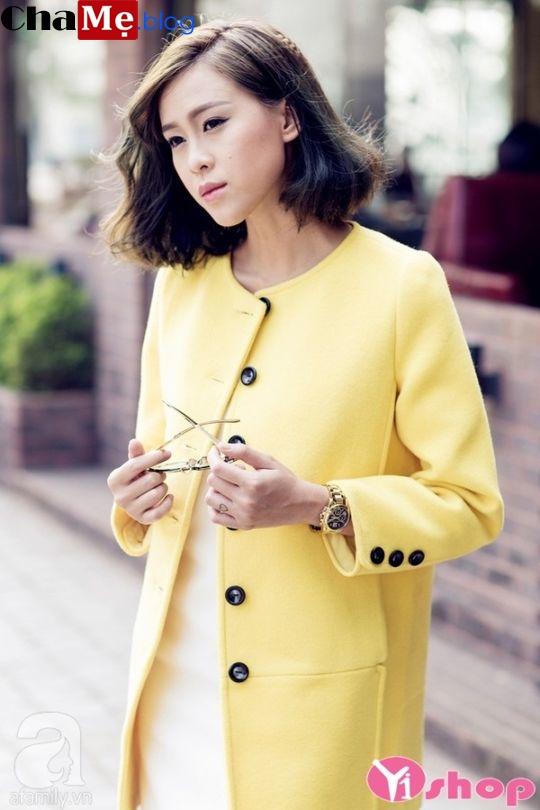 Áo khoác dạ nữ dáng suông cổ tròn đẹp cho nàng công sở đông 2021 - 2022