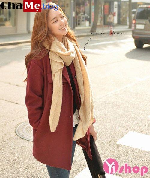 Áo khoác dạ nữ dáng suông đẹp kiểu Hàn Quốc ấm áp đông 2021 - 2022