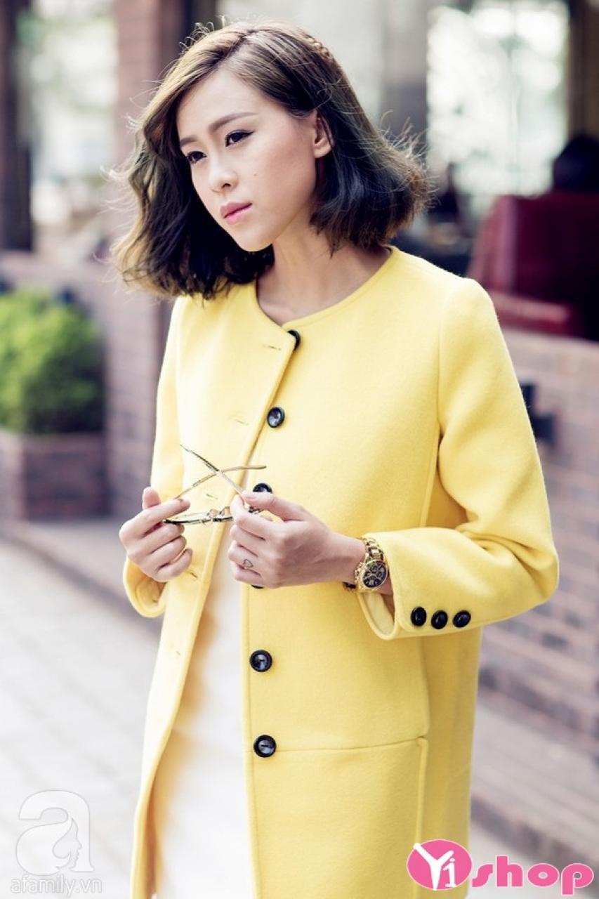 Áo khoác dạ nữ dáng suông đẹp thời trang công sở Hàn Quốc đông 2019