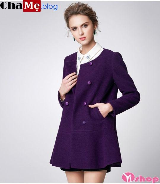 Áo khoác dạ nữ dáng suông màu tím đẹp trang nhã đông 2021 - 2022
