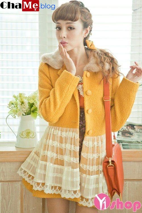 Áo khoác dạ nữ dáng váy đẹp dịu dàng không lạnh đông 2021 - 2022