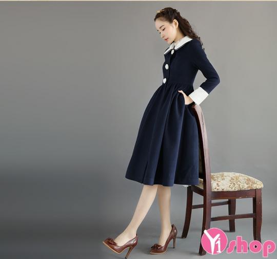 Áo khoác dạ nữ dạng váy đẹp quyến rũ ngày lạnh thu đông 2019