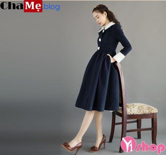 Áo khoác dạ nữ dáng váy xòe đẹp đông 2021 - 2022 lãng mạn không lạnh